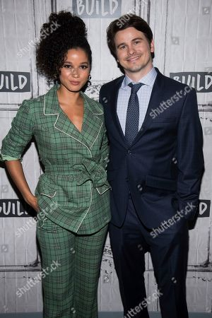 "Jason Ritter, Alisha Wainwright. Alisha Wainwright, left, and Jason Ritter participate in the BUILD Speaker Series to discuss the television show ""Raising Dion"" at BUILD Studio, in New York"