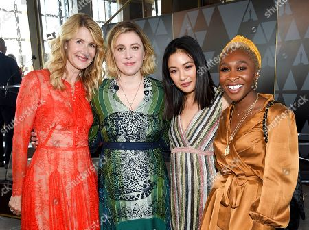 Laura Dern, Greta Gerwig, Constance Wu, Cynthia Erivo. Actors Lura Dern, left, Greta Gerwig, Contance Wu and Cynthia Erivo pose together at the Academy of Motion Picture Arts and Sciences Women's Initiative New York luncheon at the Rainbow Room, in New York