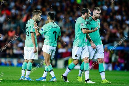 23 Nicolo Barella of FC Internazionale Milano, 07 Alexis Sanchez of FC Internazionale Milano, 02 Diego Godin of FC Internazionale Milano and 37 Mlan Skriniar of FC Internazionale Milano