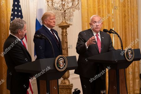 US Ambassador to Finland Robert Frank Pence makes a statement on the return of remains of Hopi Indians from Finland during a news briefing with US President Donald J. Trump (C) and President of Finland Sauli Niinistö (L) in the East Room of the White House in Washington, DC, USA, 02 October 2019.