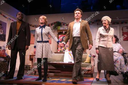 Clarence Smith (Freddie), Claire Skinner (Sheila), Toby Stephens (Bri), Patricia Hodge (Grace) and Storme Toolis (Joe Egg) during the curtain call