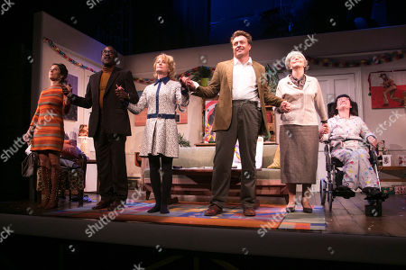 Lucy Eaton (Pam), Clarence Smith (Freddie), Claire Skinner (Sheila), Toby Stephens (Bri), Patricia Hodge (Grace) and Storme Toolis (Joe Egg) during the curtain call