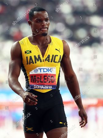 Jamaica's Omar McLeod reacts after the men's 110m Hurdles final at the IAAF World Athletics Championships 2019 at the Khalifa Stadium in Doha, Qatar, 02 October 2019.