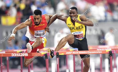 Stock Image of Orlando Ortega of Spain and Omar Mcleod of Jamaica at the 110 metres Hurdles Men Final