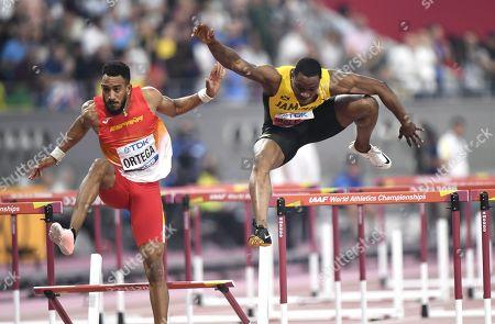 Orlando Ortega of Spain and Omar Mcleod of Jamaica at the 110 metres Hurdles Men Final