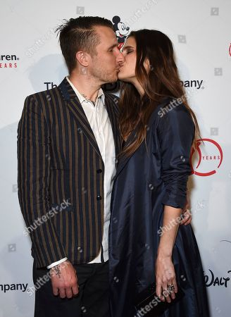"Stock Photo of Scott Campbell, Lake Bell. Scott Campbell, left, and Lake Bell kiss as they arrive at the Save the Children ""Centennial Celebration: Once in a Lifetime"" event, at The Beverly Hilton Hotel in Beverly Hills, Calif"