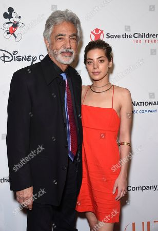 "Joe Mantegna, Gia Mantegna. Joe Mantegna, left, and his daughter Gia Mantegna arrive at the Save the Children ""Centennial Celebration: Once in a Lifetime"" event, at The Beverly Hilton Hotel in Beverly Hills, Calif"