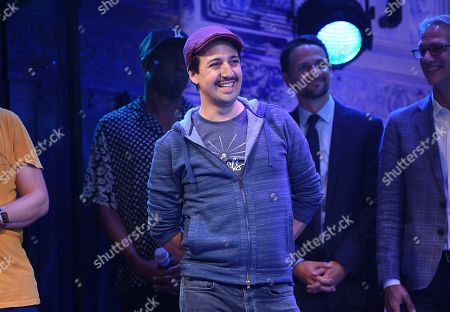 """Lin-Manuel Miranda on stage during the opening night curtain call for """"Freestyle Love Supreme"""" at the Booth Theatre, in New York"""