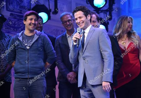 """Lin-Manuel Miranda, Thomas Kail. Director Thomas Kail addresses the audience during the opening night curtain call for """"Freestyle Love Supreme"""" at the Booth Theatre, in New York"""