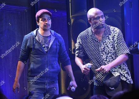 """Lin-Manuel Miranda, Wayne Brady. Actors Lin-Manuel Miranda, left, and Wayne Brady onstage during the opening night curtain call for """"Freestyle Love Supreme"""" at the Booth Theatre, in New York"""