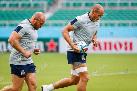 Sergio Parisse (R) and Leonardo Ghiraldini (L) of Italy participate in a training session ahead of the Rugby World Cup match between South Africa and Italy in Fukuroi, Shizuoka prefecture, Japan, 03 October 2019.