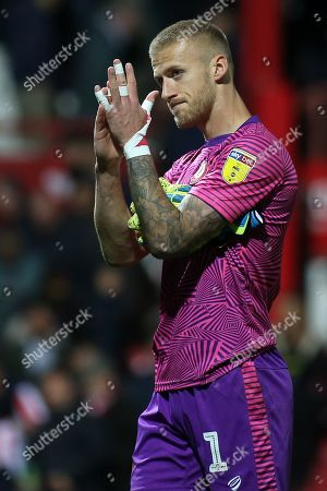 Bristol City goalkeeper, Daniel James Bentley, formerly Brentford, applauds the Brentford fans at the final whistle during Brentford vs Bristol City, Sky Bet EFL Championship Football at Griffin Park on 2nd October 2019