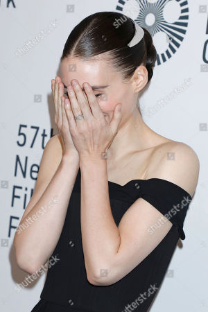 Rooney Mara, wearing a possible engagement ring