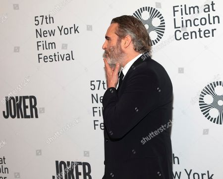 """Joaquin Phoenix attends the """"Joker"""" premiere at Alice Tully Hall during the 57th New York Film Festival, in New York"""