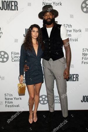 "DeAndre Jordan, guest. DeAndre Jordan, right, and guest attend the ""Joker"" premiere at Alice Tully Hall during the 57th New York Film Festival, in New York"