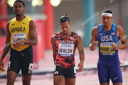 (L to R) Akeem Bloomfield (JAM), Julian Jrummi Walsh (JPN), Michael Norman (USA) - Athletics : IAAF World Championships Doha 2019 Men's 400m Semi-final