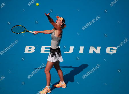 Caroline Wozniacki of Denmark in action against Katerina Siniakova of the Czech Republic during their third round women's singles match at the China Open tennis tournament in Beijing, China, 03 October 2019.