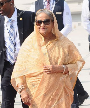 Prime Minister of Bangladesh Sheikh Hasina exits an airliner upon her arrival at the Indira Gandhi International Airport in New Delhi, India, 03 October 2019. Prime Minister Sheikh Hasina on a four-day official visit to India and is scheduled to hold talks with her Indian counterpart Narendra Modi on 05 October 2019.