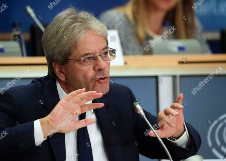European Commissioner-designate in charge of Economy, from Italy, Paolo Gentiloni, during his hearing before the European Parliament Committee on Economic and Monetary Affairs in Brussels, Belgium, 03 October 2019.