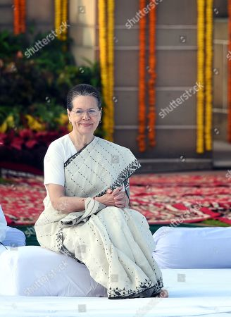 Stock Picture of Congress president Sonia Gandhi during Mahatma Gandhi?s 150th birth anniversary, at Gandhi Memorial, Rajghat