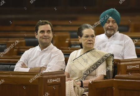 Congress interim President Sonia Gandhi and Congress Leader and Lok Sabha MP Rahul Gandhi attend a function to pay floral tributes to Mahatma Gandhi on his 150th birth anniversary and to former prime minister Lal Bahadur Shastri in the Central Hall of Parliament House