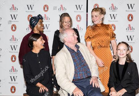 Clockwise from Sir Philip Pullman, Dinita Gohil, Helen Aluko, Niamh Cusack, Anne-Marie Duff, and Raffiella Chapman