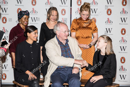Clockwise from Sir Philip Pullman, Dinita Gohil, Helen Aluko, Niamh Cusack, Anne-Marie Duff and shaking hands with Raffiella Chapman