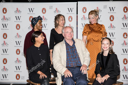 Stock Photo of Clockwise from Sir Philip Pullman, Dinita Gohil, Helen Aluko, Niamh Cusack, Anne-Marie Duff, and shaking hands with Raffiella Chapman