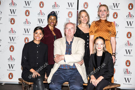 Clockwise from Sir Philip Pullman, Dinita Gohil, Helen Aluko, Niamh Cusack, Anne-Marie Duff, and swith Raffiella Chapman).