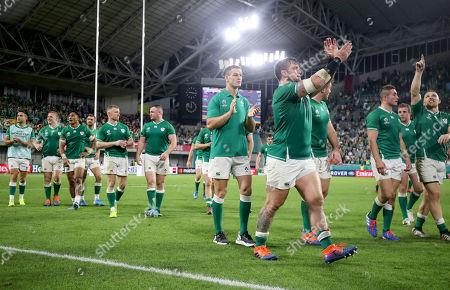Ireland vs Russia. Ireland's Jonathan Sexton and Andrew Porter celebrate winning