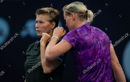 Demi Schuurs of the Netherlands and Anna-Lena Groenefeld of Germany playing doubles