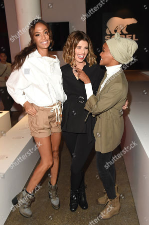 Katherine Schwarzenegger, Joan Smalls, and Halima attend theSOREL Mile-Long Runway event styled by Kate Young, showcasing SOREL Fall 19 Collection on 100 NYC women, held at Highline Stages, New York, NY @SORELfootwear #MILELONGRUNWAY #SORELstyle