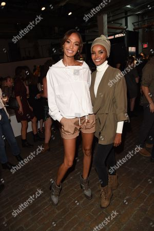 Joan Smalls and Halima attend the SOREL Mile-Long Runway event styled by Kate Young, showcasing SOREL Fall 19 Collection on 100 NYC women, held at Highline Stages, New York, NY @SORELfootwear #MILELONGRUNWAY #SORELstyle