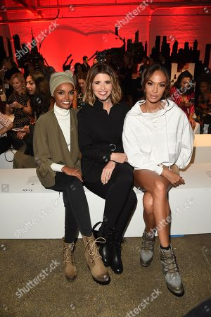 Halima, Katherine Schwarzenegger, and Joan Smalls sit front row at the SOREL Mile-Long Runway styled by Kate Young, showcasing SOREL Fall 19 Collection on 100 NYC women, held at Highline Stages, New York, NY @SORELfootwear #MILELONGRUNWAY #SORELstyle