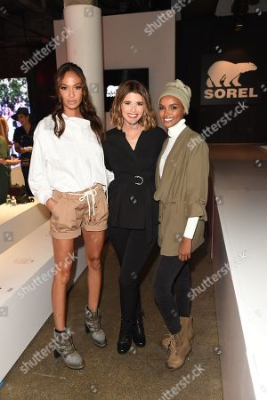 Halima, Katherine Schwarzenegger, and Joan Smalls attend the SOREL Mile-Long Runway styled by Kate Young, showcasing SOREL Fall 19 Collection on 100 NYC women, held at Highline Stages, New York, NY @SORELfootwear #MILELONGRUNWAY #SORELstyle