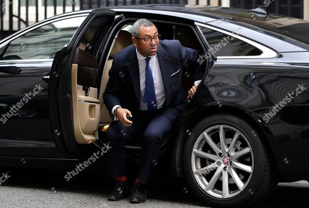 """Britain's Chairman of the Conservative Party James Cleverly arrives for a cabinet meeting at Downing Street in London, . The U.K. offered the European Union a proposed last-minute Brexit deal on Wednesday that it said represents a realistic compromise for both sides, as British Prime Minister Boris Johnson urged the bloc to hold """"rapid negotiations towards a solution"""" after years of wrangling"""