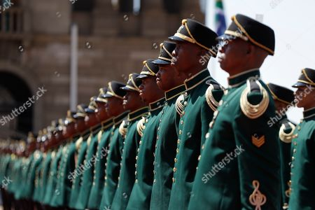 A guard of honour for Nigerian President Muhammadu Buhari at a welcoming ceremony in Pretoria, South Africa . Buhari is visiting South Africa's leader, Cyril Ramaphosa, after a wave of attacks on foreigners angered many African countries and led to an extraordinary airlift to take hundreds of Nigerians home