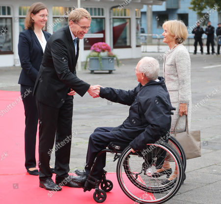 The State Governor of Schleswig-Holstein, Daniel Guenther (2-L) and his wife Anke (L) greet the President of the German Bundestag Wolfgang Schaeuble (2-R) and his wife Ingeborg (R) during the official celebrations of the Day of German Unity (Tag der Deutschen Einheit) in Kiel, Germany, 03 October 2019. About 500,000 visitors are expected in the capital of the state of Schleswig-Holstein for the offical celebrations of the Day of German Unity on 03 October and the citizen?s festival on 02 October.