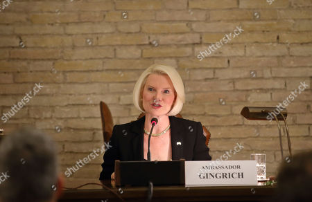 Callista Gingrich US Ambassodor to the Holy See during the launch of a Vatican - US Symposium on Faith-Based Organizations (FBOs), in the Vatican