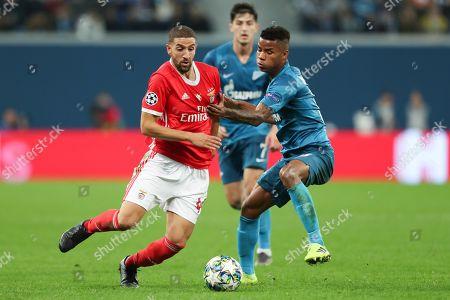 Midfielder Adel Taarabt of FC Benfica and midfielder Wilmar Barrios of FC Zenit