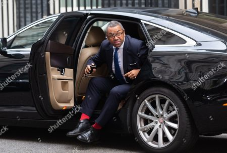 James Cleverly, Minister without Portfolio and Party Chairman, arrives for a Cabinet meeting at Downing Street.