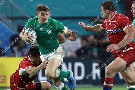 Andrew Porter (L) of Ireland in action agaist Russia during the Rugby World Cup match between Ireland and Russia at Kobe Misaki Stadium in Kobe, Japan, 03 October 2019.