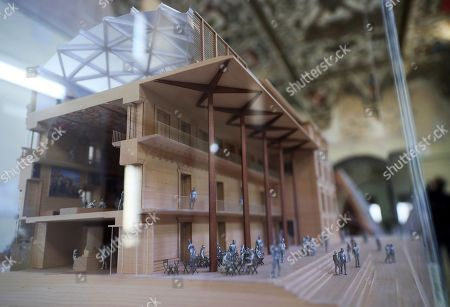 A detailed view on a scale model of the 'Salon de Reinos' (lit. Hall of Realms) of the Prado Museum, designed by architects Norman Foster and Carlos Rubio, during a press preview to mark the beginning of the restoration works at the Museum in Madrid, Spain, 03 October 2019. The project to restore the original 17th century 'Buen Retiro' palace had won an international contest in order 'to make maximum use of the building's museological aspect and create a large entrance atrium on the south facade.'