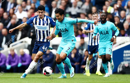 Heung-Min Son of Tottenham Hotspur and Steven Alzate of Brighton & Hove Albion.