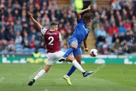 Matthew Lowton of Burnley and Alex Iwobi of Everton