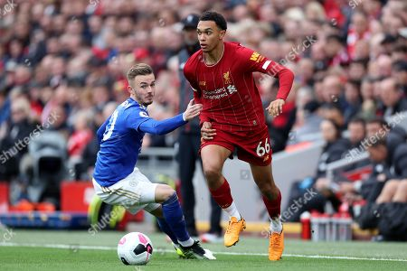 James Maddison of Leicester City and Trent Alexander-Arnold of Liverpool