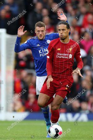 Jamie Vardy of Leicester City and Virgil van Dijk of Liverpool