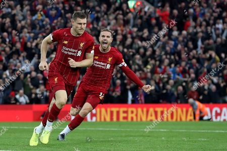 Stock Picture of Jordan Henderson of Liverpool celebrates after James Milner of Liverpool scores the second goal to make the score 2-1