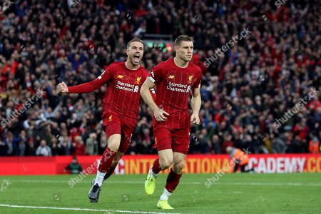 Stock Image of Jordan Henderson of Liverpool celebrates after James Milner of Liverpool scores the second goal to make the score 2-1