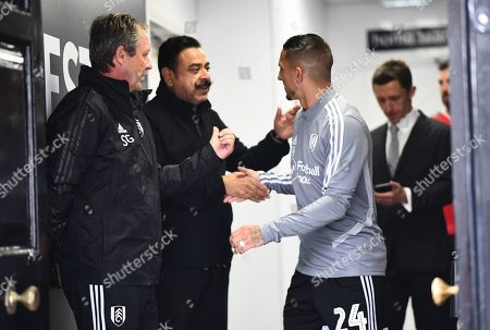 Fulham Chairman and owner Shahid Khan greets Anthony Knockaert of Fulham